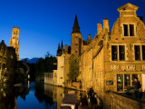 Old Houses on One of the Central Canals at Night Photographic Print by Krzysztof Dydynski