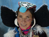 Woman Wearing Traditional Headgear (Perak) for Ladakh Festival. Photographic Print by Guylain Doyle