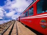 Pikes Peak Cog Railway Train with Visitors Looking Out from Pikes Peak Photographic Print by John Elk III