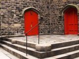 Bright Red Doors of Historic Chapel in Chelsea Photographic Print by Michelle Bennett