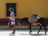 Elderly Woman Walking with Her Donkey Fotografisk tryk af Margie Politzer