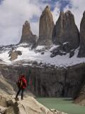 Torres Del Paine with Hiker in Foreground Fotografisk tryk af John Elk III