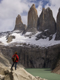Torres Del Paine with Hiker in Foreground Photographic Print by John Elk III