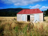 Old Shed and Farm Equipment Near Cloudy Bay Photographic Print by Holger Leue