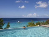 Swimmer in Infinity Pool at Habitat Curacao Dive Resort Near St. Willibrordus Photographic Print by Holger Leue