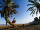 Tourist Reading Book While Sitting on Palm Tree Trunk on Beach, Sinai, Red Sea Lmina fotogrfica por Frans Lemmens