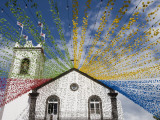 Ponta Delgada Church with Festival Decoration Photographic Print by Holger Leue