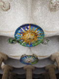 Ceiling Decorated with Mosaics in Sala Hipostila at Parc Guell Photographic Print by Kimberley Coole
