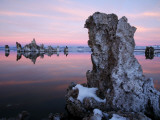 Snow-Covered Tufa Towers on Mono Lake, under Pink and Blue Dawn Sky Photographic Print by Feargus Cooney