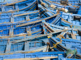 Blue Fishing Boats at Port Photographic Print by Olivier Cirendini