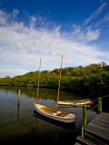 Traditional Florida Shallow Draft Boats Moored at Cock's Footbridge, Spanish Point Photographic Print by Michael Lawrence