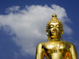 Torso and Head Detail of Buddha Statue with Backdrop of Sky and Cloud, Near Chiang Rai Photographic Print by Felix Hug