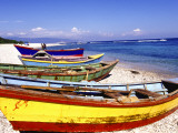 Fishing Boats on Beach Stampa fotografica di Greg Johnston