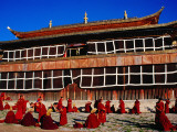 Morning Debate in Front of Main Prayer Hall of Dachang Lamo Kirti Monastery Photographic Print by Krzysztof Dydynski