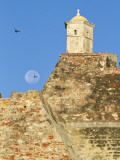 Full Moon Behind San Felipe Castle (Castillo De San Felipe De Barajas) Photographic Print by Jane Sweeney