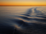 Ripple Lines of Boat in Water in Karumba Shipping Channel at Sunset Photographic Print by Cathy Finch