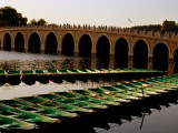 Rowboats Moored Next to Shiqui Kong Qiao Bridge on Kunming Lake, Summer Palace Photographic Print by Krzysztof Dydynski