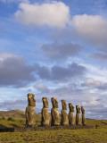 Ahu Aviki Moai Statues Fotografisk tryk af John Elk III