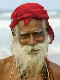 Portrait of Old Man with Beard by the Ocean Reproduction photographique par Keren Su