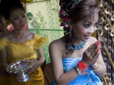 Cambodian Bride with Her Bridesmaids at Wedding Reception Photographic Print by Michael Coyne