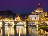 St Peter&#39;s Basilica from the Tiber River at Dusk Photographic Print by Glenn Beanland