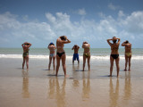 Aerobics Class on Praia Do Ponta Negra Beach Photographic Print by Huw Jones