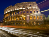 Traffic Trails and Collosseum (Colosseo) at Night from Via Dei Fori Imperiali Photographic Print by Guylain Doyle