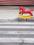 Plastic Rocking Horse in Front of Toy Stall , Gallipoli Photographic Print by David Borland