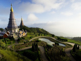 Phra Mahathat Naphamethanidon Twin Royal Stupas on the Way to the Summit of Doi Inthanon Photographic Print by Felix Hug