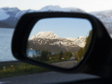 Reflection in Rearview Mirror of Lyngen Alps Surrounded by Kjosen Fjord Photographic Print by Christian Aslund