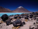 Volcan Licancabor Rising Beyond Lake Verde, Kept Unfrozen at High Altitude by Alkali Salts Photographic Print by Karl Lehmann