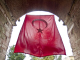 Turkish Flag Hanging Above Main Entrance to Hagia Sophia Church (Church of Divine Wisdom) Photographic Print by George Tsafos