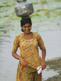 Woman Carrying Water Jar by Lake, Rohet Photographic Print by Keren Su
