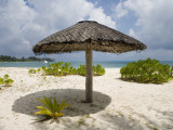 Sun Shade on Beach, Taj Denis Island Resort, Denis Island, Seychelle Photographic Print by Holger Leue