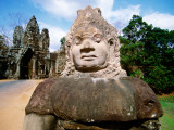 Statue at South Gate of Angkor Thom at Angkor Temple Complex Photographic Print by Jane Sweeney