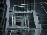 Modern Staircase with Glass Balustrade, Akihabara Photographic Print by Damien Douxchamps