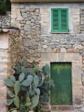 Opuntia Cactus and Green Door Fotografisk tryk af Holger Leue