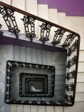 Staircase in Purple Nest Hostel Photographic Print by Krzysztof Dydynski