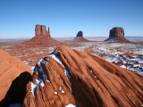 Buttes Towering Above Snowy Desert Floor of Monument Valley Photographic Print by Feargus Cooney