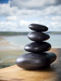 Hot Stones Spa Treatment at St. Brides Hotel and Spa with Saundersfoot Beach in Background Reproduction photographique par Huw Jones