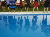 Reflections in the Pool, at Poolside New Year Celebration. Photographic Print by Christian Aslund