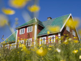 Red House Seen Through Meadow of Yellow Buttercup Flowers Photographic Print by Holger Leue