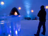 Man at Bar of Kirkenes Ice Hotel Photographic Print by Olivier Cirendini