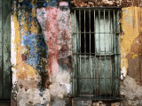 Detail of Colourful Weathered Doorway, Window and Wall Photographic Print by Dallas Stribley