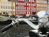 Reflections on Vespa of Colorful Facades and Street Cafes of Christianshavn Photographic Print by Christian Aslund