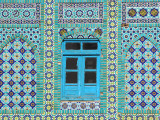 Intricate Tiling Round a Blue Window at the Shrine of Hazrat Ali Photographic Print by Jane Sweeney