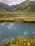 Hiking Group Resting Beside Mineral Spring in Truso Valley Fotografiskt tryck av Mark Daffey