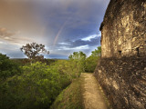 Sunset, with Double Rainbow, from Top of Temple 216 at Yaxha Site Photographic Print by Diego Lezama