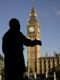 Statue of Nelson Mandela and Big Ben, Parliament Square Photographic Print by Doug McKinlay