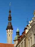 Old Town Hall Tower Above Roofs Photographic Print by Frank Wing
